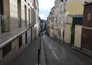 Steep cobbled streets at Montmartre, where painters such as Monet, Dali, Picasso, and Van Gogh had worked