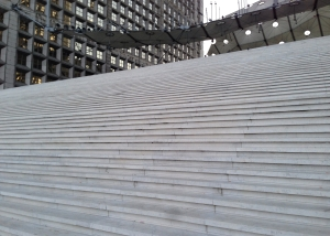 Steps leading to the Grande Arche at La Defense: The Quatre Temps is just to the left of this.