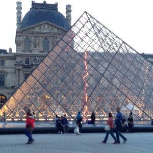 The glass pyramidal entrance to the Louvre: Artist I.M. Pei